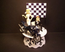 Motorcycle Dirt Bike Bride and Groom W/Die Cast TRIUMPH 955 Funny Bike Wedding Cake Topper