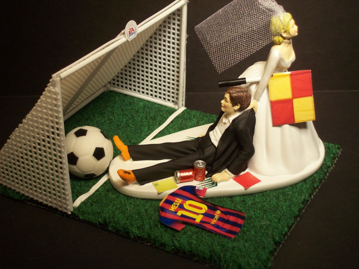 soccer player wedding cake toppers no football soccer futbol fifa and groom messi with goal 20273