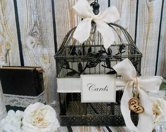 Large Ivory Burlap Wedding Birdcage Card Holder / Wedding Card Box / Wedding Card Holder / Black and Gold Birdcage