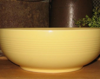 Vintage Pottery Mixing-Serving-Display YELLOW BOWL-Primitive Country Kitchen Decor