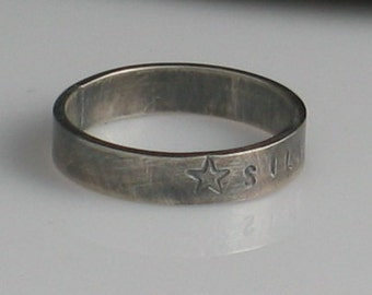 Handmade Sterling Silver Ring 4mm Band Personalized Inspirations - Unisex Stamped Single Side