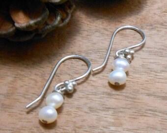 2 Pearl Drop Silver Earrings- Bridal Pearl Earrings-Pearl Earrings, Sterling Silver Earrings- Bride Pearl Wedding Earring Classic