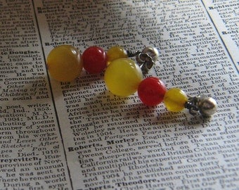 Honey and Red Bakelite Dangle Earrings with Sterling Ball Posts