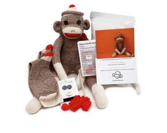 Pre-sewn Sock Monkey Kit (no sewing machine needed)