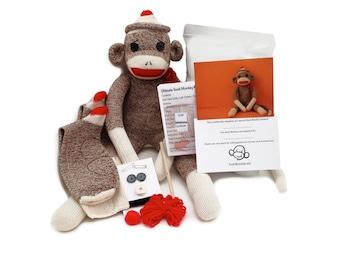 Pre-sewn Sock Monkey Kit (no sewing machine needed)