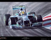 Lewis Hamilton F1 Mercedes W04 Limited Edition Art Print from an original painting
