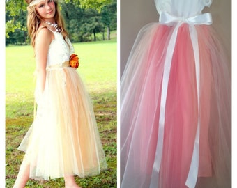 Coral Melon Peach Flower Girl Tulle Tutu Dress