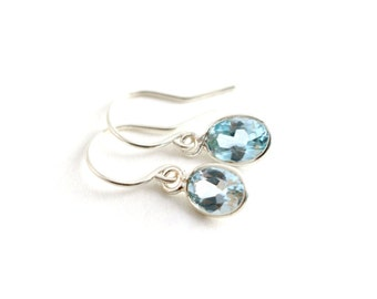 Dainty Silver Topaz Earrings, Genuine Topaz Earrings, Sterling Silver Earrings, Natural Light Blue Topaz Earrings, Dangle Bezel Earrings