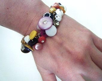 Multi colored vintage button bracelet, assemblage jewelry