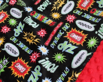 Travel Pillowcase Superhero Print Minky with Red Dimple Dot Minky Border - great gift for your toddler or teen