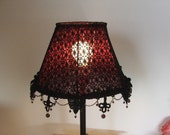 Gothic style table lamp, spider-web-like black lace on burgundy fabric with burgundy glass beads gothic table lamp shade
