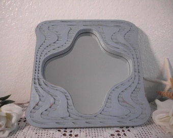 Blue Grey Mirror Rustic Shabby Chic Distressed Beach Cottage Coastal Seaside Home Decor Relaxing Serene Retreat Vintage Wood Gray Greige