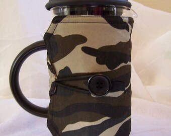 Camouflage French Press Cozy, Reversible Hot Pot Sleeve, fits 8 Cup Bodum,