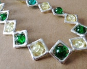 "Lots of Green Crackle Glass and Silvertone 8"" Necklace/Gifts for Her/Gifts under 15/OOAK - StampCraftStudio"