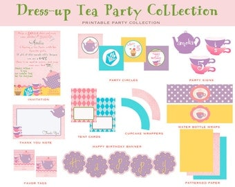 DRESS UP TEA Party, Printable Party Package (Tea Party Birthday, Tea Party Decorations, Dress Up Birthday)
