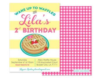 Waffles Birthday Invitation (Pancakes and Pajamas, Breakfast Party, Brunch Invitation, Slumber Party, Pajama Party, Brunch Birthday Party)
