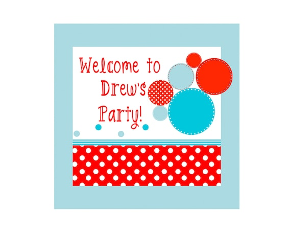 BOUNCE HOUSE PRINTABLE Party Sign - Red & Aqua Circles (Birthday Welcome Sign)