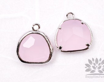 F119-01-S-RO// Silver Framed Rose Glass Stone Pendant, 2Pcs