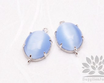 F122-S-RB// Silver Framed Royal Blue Cats Eye Smooth Oval Glass Connector, 2 pcs