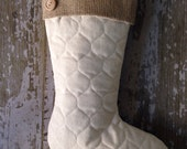 Single Quilted Stockings with Burlap Cuff and Buttons