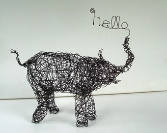 HELLO ELEPHANT - Unique Wire Animal Sculpture