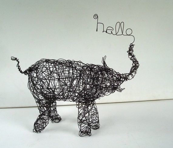 hello elephant unique wire animal sculpture. Black Bedroom Furniture Sets. Home Design Ideas
