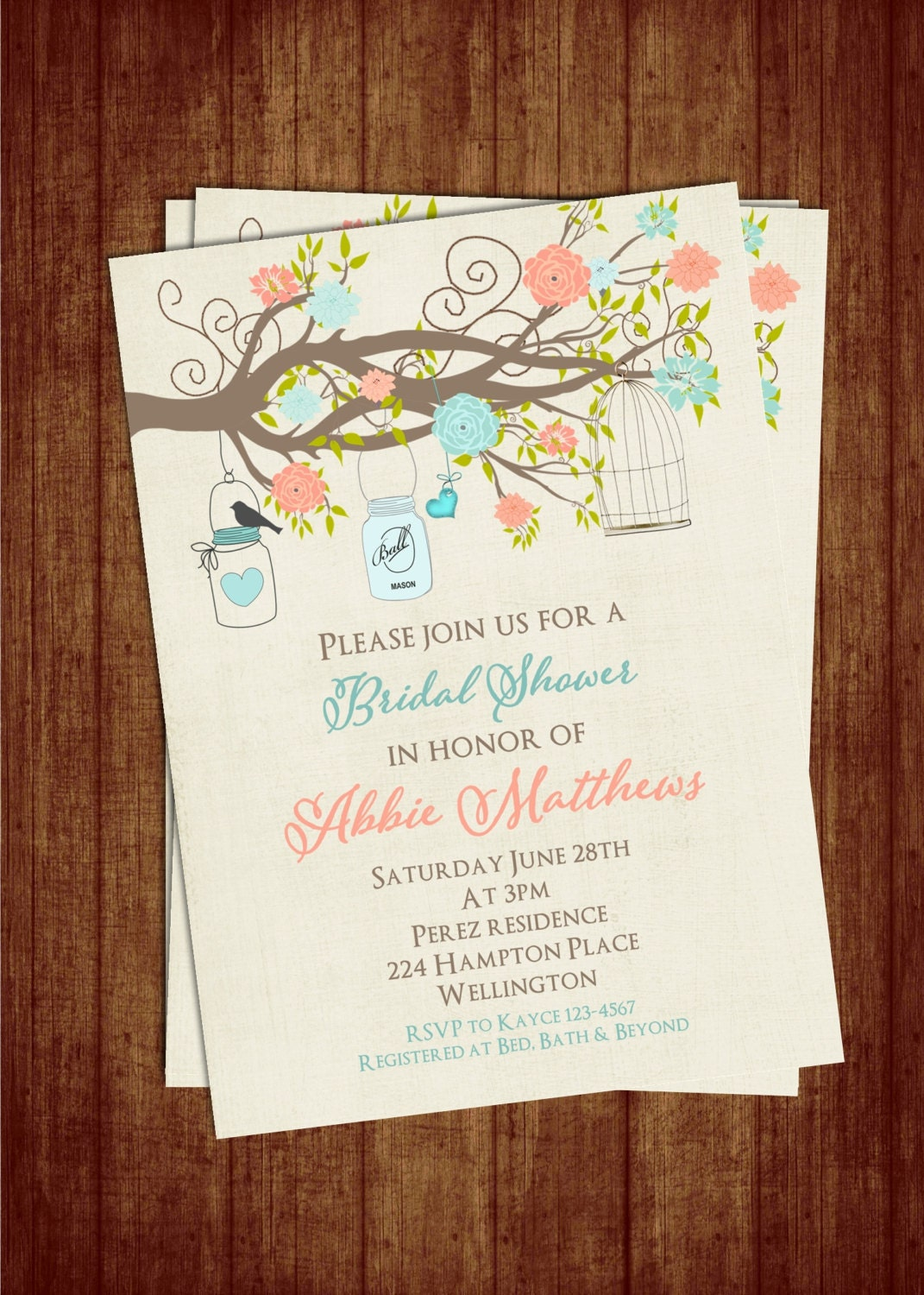 teal and coral bridal shower invitation with birdcage mason. Black Bedroom Furniture Sets. Home Design Ideas