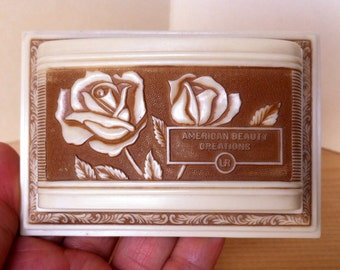 Rare Rose Ring Box Red Velvet Art Deco Wedding Celluloid Display Vintage