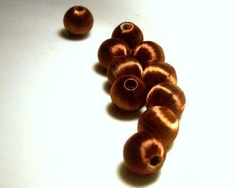 Brown Silk Wrapped Beads - Vintage - 10mm - (10)