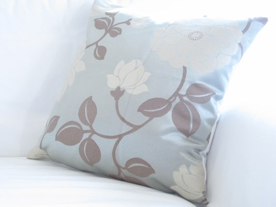 Steel Blue Throw Pillows : Decorative Pillows, Elegant Steel Blue Brown Cream Pillow,Floral Pillows, 20 in pillow covers ...