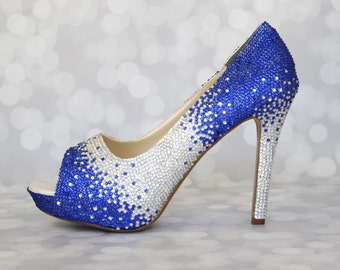 Wedding Shoes -- Silver and Royal Blue Rhinestone Covered Peep Toes (Ombre Design)