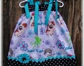 Girls Dress  Pillowcase style...Littlest Pet Shop N Dots...sizes 0-3, 0-6, 6-12, 12-18, 18-24 months, 2T, 3T