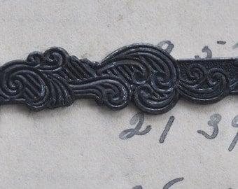 Medieval Key Brass Stamping, Black Satin Finish