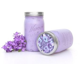 Shabby Chic Lavender Upcyled Painted Quart Mason Jars, Canister Jars with Lids, Purple Decor Jars,