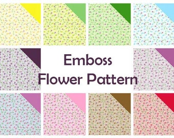 Emboss Flower Patterns, Plain Colors I - Double Sided Origami Paper- 10 Sheets