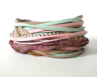 bohemian wrap bracelet, endless wrap bracelet, pink aqua brown triple wrap, rocker cuff, stacking bracelet, pastel bracelet, gift for her