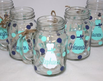 11 Personalized Mason Jar Glasses with Handle, Bride and Bridesmaids Gift
