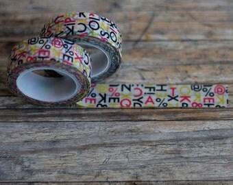 Japanese Washi Tape - Masking Tape Roll in Alphabet and Symbol Pattern