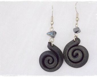 Dangle Black Earrings, Swirl Earrings, Polymer Clay Earrings, Noir Hematite Jewelry, Snail Spiral Earrings, Midnight Black Earrings
