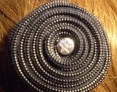 "CLEARANCE Handmade Black Zipper Flower Hair Clip 2"" Star Center Barrette Fascinator"