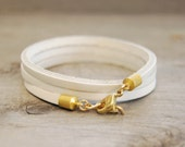 """Leather Wrap Bracelet in White 