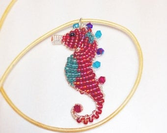 Tiny Seahorse Pendant Necklace - Wire Wrapped Unique Sea Creature - Ruby Red and Teal with Swarovski Crystals