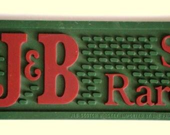 Vintage J & B Scotch of Rare Character GREEN Rubber Bar Rail Spill Drain Mat