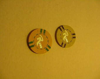Two Vintage Obsolete Clay Casino Chips RENO Gaming Gambler Poker Collectible Memorabilia