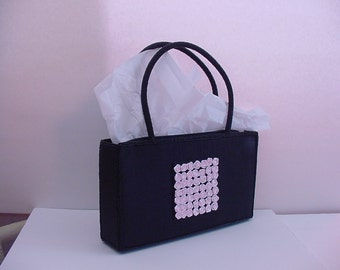 Precious Pink Rose SHIRALEAH Purse Black Glass Beads Cloth Adorned w/49 Roses on Each Side