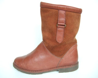 UK 5.5 Vintage 1980s boots Scholl flat ankle boots in tan brown suede and leather wool lined EU 38.5 US 7.5