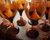 Rustic Sunflower Bridal Wine glasses (Set of Ten)