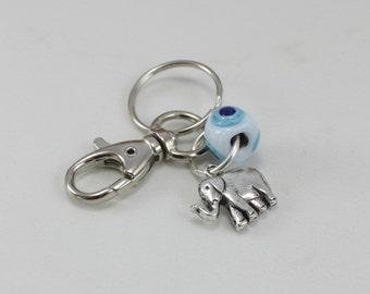 Elephant Charm Keychain with Evil Eye bead, handmade glass bead keychain