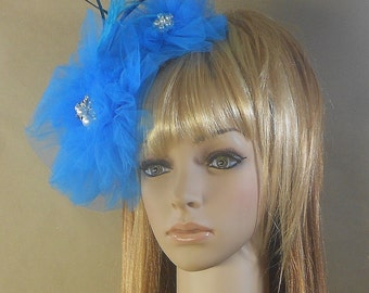 Tulle Flower Bridal Fascinator-Blue Tulle Flower Fascinator With Pearls and Feathers