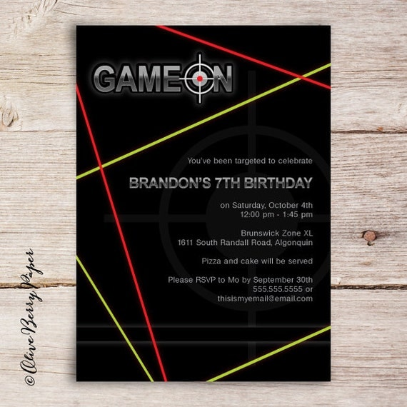 Laser Tag Invitations, Laser Tag Birthday